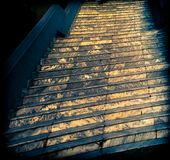 Tricky Going Up. The stairway is always there, but how much will life distort our vision royalty free stock photo
