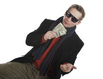 Tricky and greedy man Royalty Free Stock Image