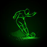 Tricky kick by soccer player. Vector illustration. Tricky kick by soccer player. Vector neon illustration royalty free illustration