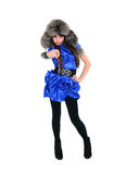 Tricky nice girl in fur hat and blue dress showing something wit Stock Image