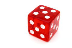 Tricky red die. Red tricky die with all sides giving five over a white surface royalty free stock image