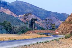 Tricky, sharp curve, s-curve road on mountain to Luang Pra Bang Laos. Tricky and sharp curve, s-curve road on mountain to Luang Pra Bang Laos stock photo