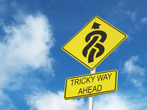 Tricky way ahead. Road sign royalty free stock photo