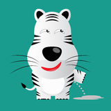 Tricky white bengal tiger cartoon character.  Stock Photo