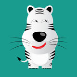 Tricky white bengal tiger cartoon character.  Stock Images