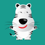 Tricky white bengal tiger cartoon character Stock Image