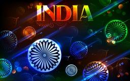Tricolor και Ashoka Chakra για την ευτυχή ημέρα της ανεξαρτησίας Ινδού διανυσματική απεικόνιση