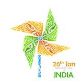 Tricolor σημαιών της Ινδίας pinwheel Στοκ Φωτογραφίες