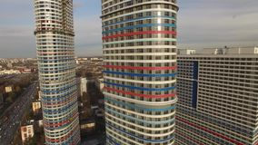 Tricolor apartment highrise building. Moscow city aerial view stock footage