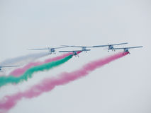 Tricolor arrows air show. Tirrenia, Pisa, Italy, September 11, 2 Royalty Free Stock Images