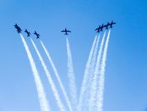 Tricolor arrows air show. Tirrenia, Pisa, Italy, September 11 Royalty Free Stock Photo