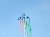 Tricolor arrows air show. Tirrenia, Pisa, Italy, September 11, 2 Stock Image