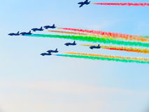 Tricolor arrows air show. Tirrenia, Pisa, Italy, September 11, 2 Royalty Free Stock Image