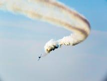 Tricolor arrows air show. Tirrenia, Pisa, Italy, September 11, 2 Royalty Free Stock Photography
