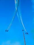 Tricolor arrows air show. Tirrenia, Pisa, Italy, September 11, 2 Royalty Free Stock Photo
