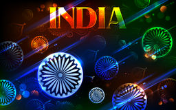 Tricolor and Ashoka Chakra for Happy Independence Day of Indian Stock Image