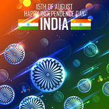 Tricolor and Ashoka Chakra for Happy Independence Day of Indian Royalty Free Stock Images