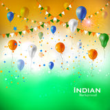 Tricolor balloon flying on Indian Background Royalty Free Stock Images