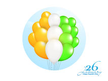 Tricolor Balloons for Republic Day celebration. Indian Tricolor Balloons for 26 January, Happy Republic Day celebration Stock Photo