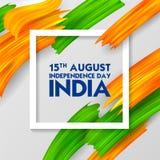 Tricolor baner för akrylborsteslaglängd med den indiska flaggan för 15th August Happy Independence Day av Indien bakgrund Royaltyfri Bild