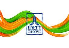 Tricolor baner för akrylborsteslaglängd med den indiska flaggan för 15th August Happy Independence Day av Indien bakgrund Arkivfoto