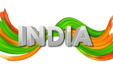 Tricolor baner för akrylborsteslaglängd med den indiska flaggan för 15th August Happy Independence Day av Indien bakgrund Arkivfoton