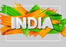 Tricolor baner för akrylborsteslaglängd med den indiska flaggan för 15th August Happy Independence Day av Indien bakgrund Royaltyfri Fotografi