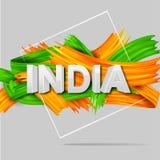 Tricolor baner för akrylborsteslaglängd med den indiska flaggan för 15th August Happy Independence Day av Indien bakgrund Royaltyfri Foto