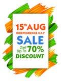 Tricolor baner för akrylborsteslaglängd med den indiska flaggan för 15th August Happy Independence Day av den Indien Sale befordr Royaltyfria Bilder