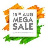 Tricolor baner för akrylborsteslaglängd med den indiska flaggan för 15th August Happy Independence Day av den Indien Sale befordr Arkivbilder