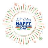 Tricolor baner med den indiska flaggan för 15th August Happy Independence Day av Indien bakgrund Royaltyfria Bilder