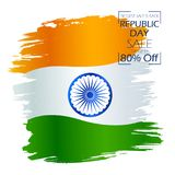 Tricolor banner with Indian flag for 26th January Happy Republic Day of India. Illustration of tricolor banner with Indian flag for 26th January Happy Republic Royalty Free Stock Images