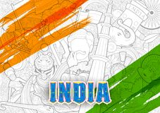 Tricolor banner with Indian flag for 26th January Happy Republic Day of India. Illustration of tricolor banner with Indian flag for 26th January Happy Republic Stock Photos
