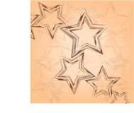 Tricolor brown stars on a light background. Seamless pattern. Composition for textile, tapestries, festive decorative packaging, cover art, website background stock illustration