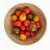 Tricolor cherry tomatoes top view stock photo