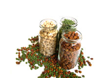 Tricolor Chick Peas in Bottles Stock Photos