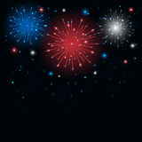 Tricolor firework. Shiny tricolor firework in the sky, illustration Stock Photo