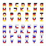 Tricolor flag font alphabet letters Royalty Free Stock Photos
