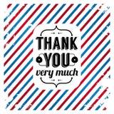 Спасибо карточка на tricolor предпосылке grunge. Стоковое Изображение RF