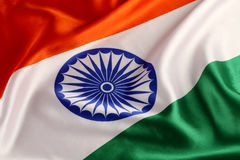 Tricolor Indian National Flag - Closeup Royalty Free Stock Photo