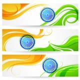 Tricolor Indien baner stock illustrationer