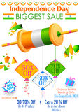 Tricolor kite on India banner with Indian flag Stock Image