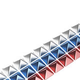 Tricolor lines made of metal pyramids. As an abstract backdrop royalty free illustration