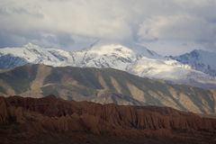 Tricolor mountains near Lake Issyk-Kul, Kyrgyzstan.  Stock Photography