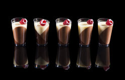 Tricolor pana cotta in the cup Royalty Free Stock Image