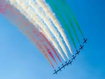 Tricolor pilflygshow Tirrenia Pisa, Italien, September 11, 2 arkivbilder
