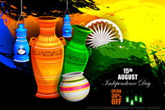 Tricolor Pot on Indian Independence Day celebration Advertisement background Stock Image