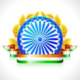 Tricolor Ribbon with Ashok Wheel Stock Photos