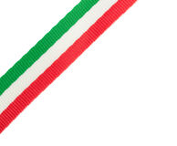 Tricolor ribbon of the Italian flag placed in the corner. On white background royalty free stock photos