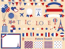 Tricolor france paris set 2 royalty free illustration